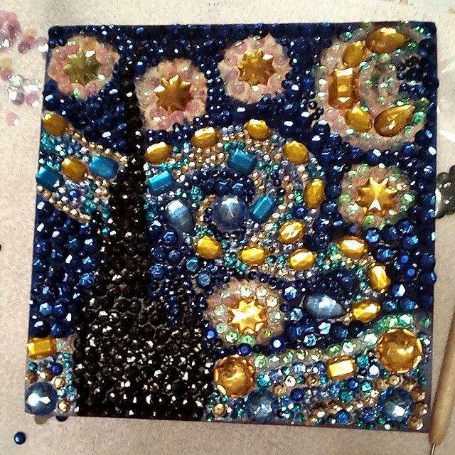 "Vincent Van Gogh ""Starry Night"" Bedazzled Graduation Cap"