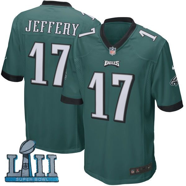 418fa8e9861 ... Youth Nike Philadelphia Eagles 17 Alshon Jeffery Green 2018 Super Bowl  LII Game Jersey ...