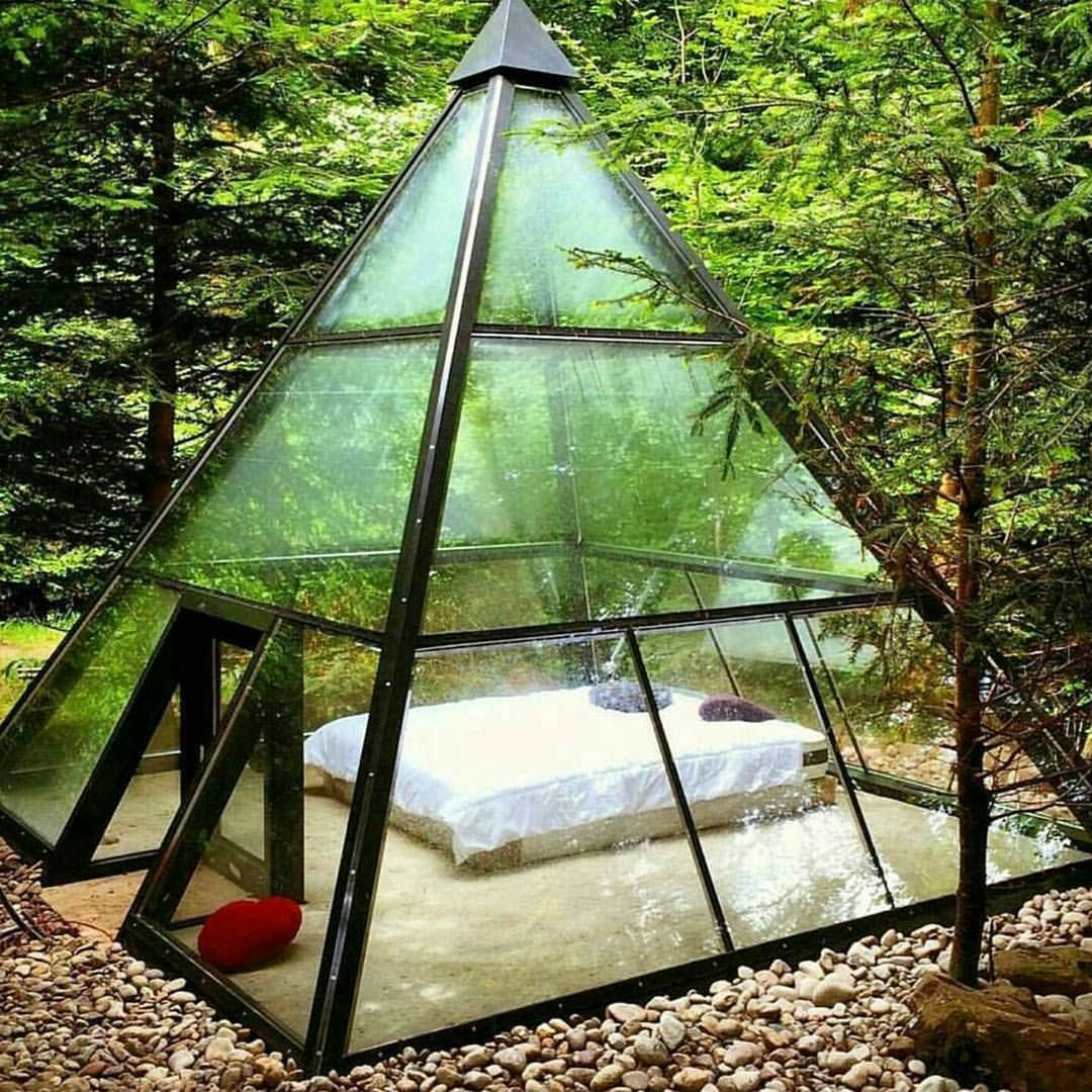 Wow, I want this to watch the rain in..........Life Goals . Looking deep into space, In the forest. I can promise you this, you may not have WIFI but youll find a better connection. . . #shelter #pyramid #stargazing . . PC : @vitalherbals .