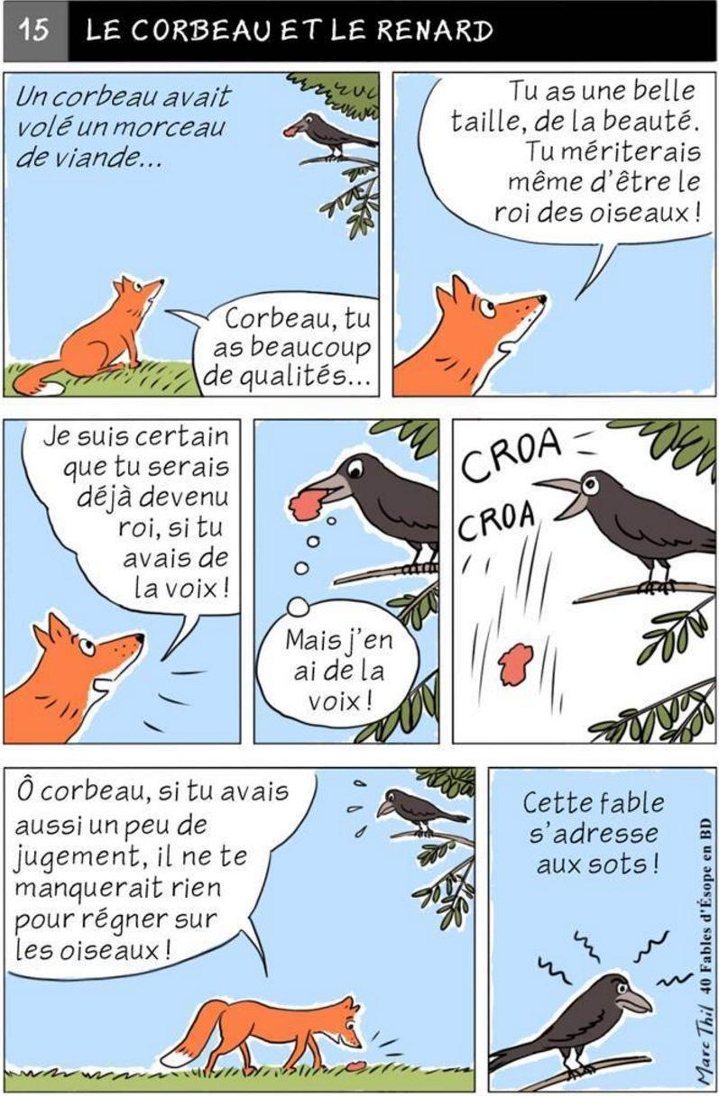 Fable d 39 esope en bd le corbeau et le renard fables d 39 esope raven fox et french - Coloriage le corbeau et le renard ...