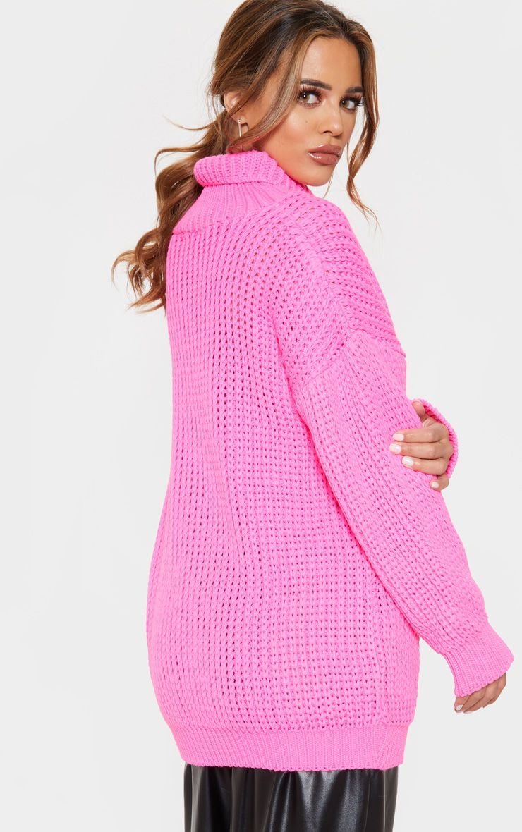 031f318a17ed42 Petite Hot Pink Roll Neck Oversized Chunky Knit Jumper in 2019 ...