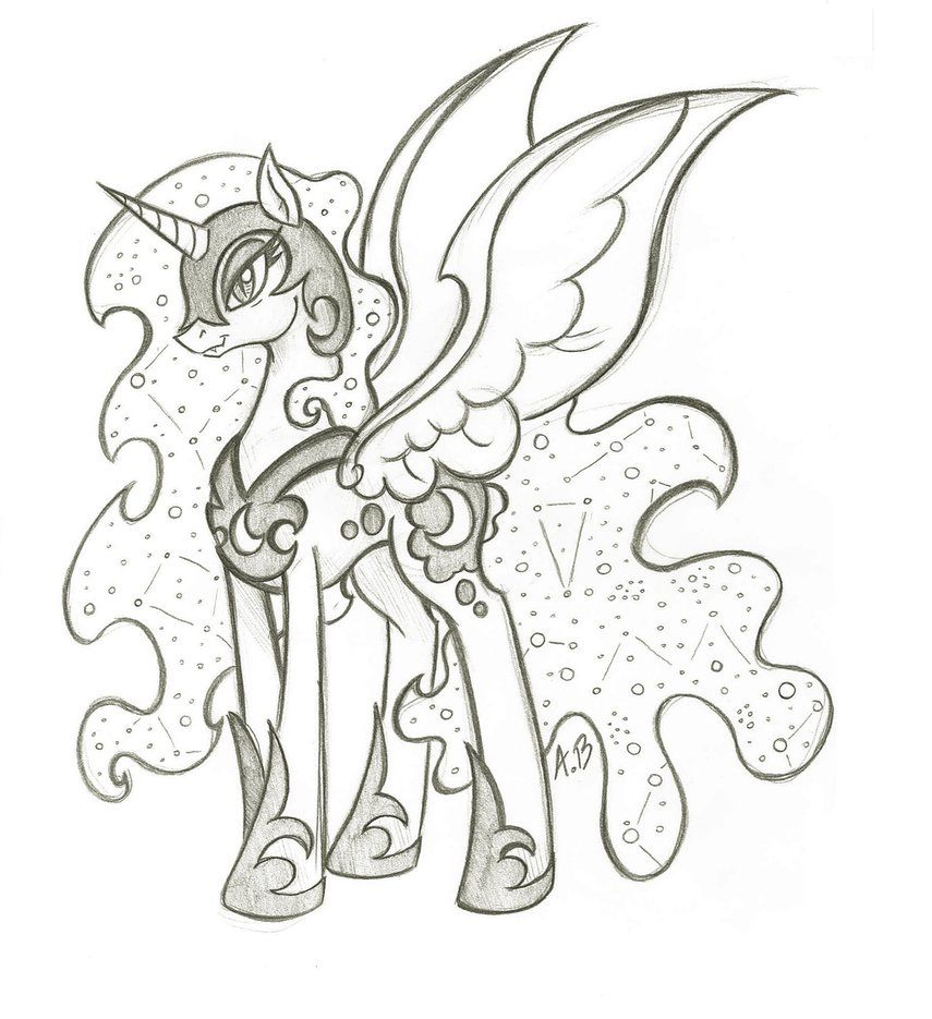 Mlp Nightmare Moon Drawing Moon Coloring Pages Nightmare Moon