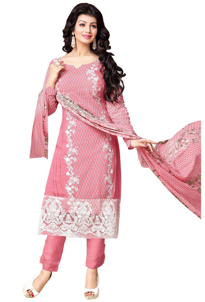 Semi #Stitched Pink Georgette #Straight Cut #Salwar #Kameez #nikvik ...