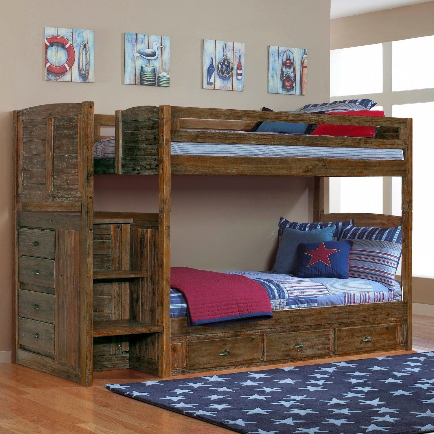Best Solid Acacia Hardwood Staircase Twin Twin Seven Drawers In 400 x 300