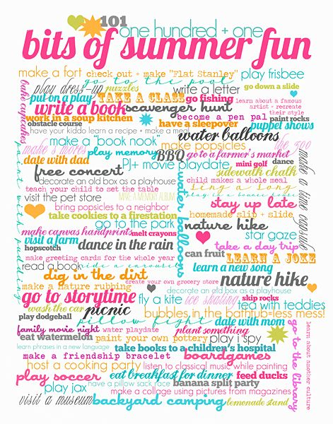 wondering what to do with the kids this summer well check out this free printable list of fun summer activities everything from dancing - Cute Things To Print Out