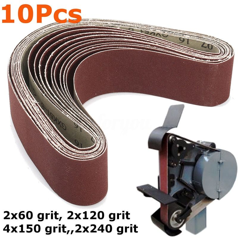 10pcs Sanding Belts For Grinding Polishing Mixed 60 120 150 240 Grit 50 X 686 Mm 10pcs Sanding Belts Grinding Polishing Mixed Grit Belt Sanding Grind