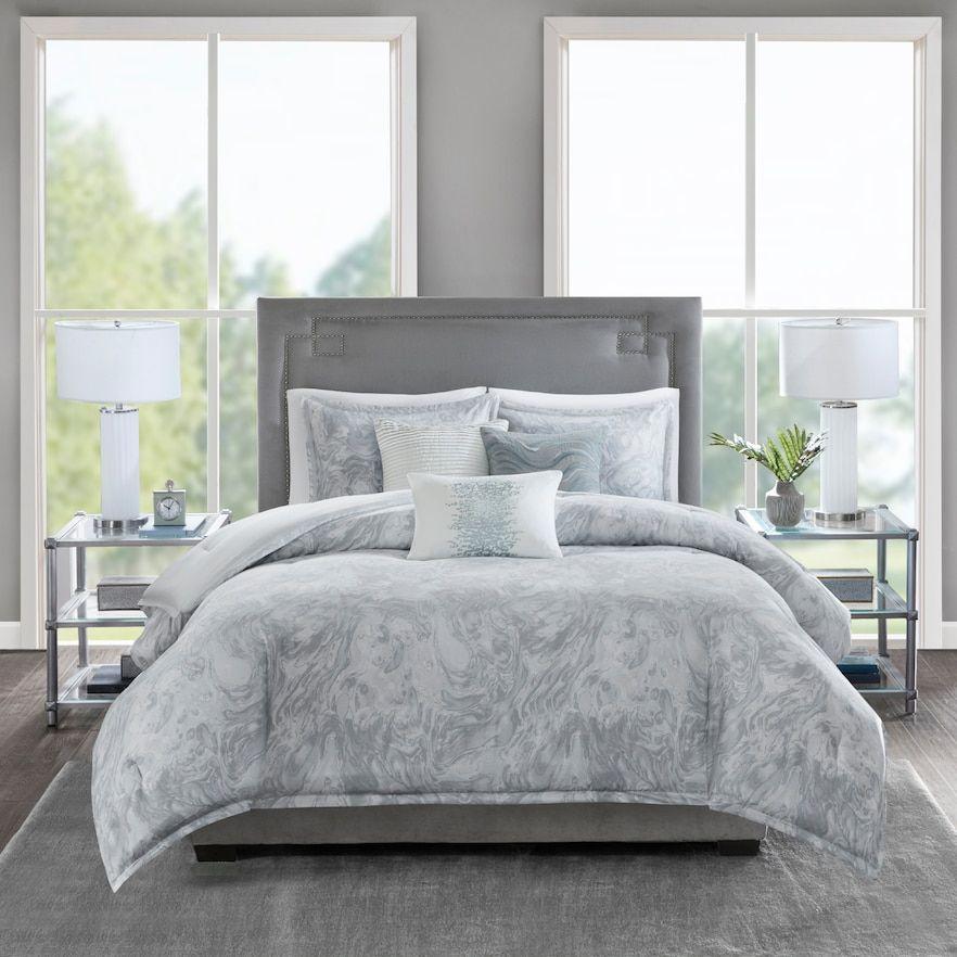 Madison Park Nowell 6 Piece Cotton Sateen Duvet Cover Set Comforter Sets King Comforter Sets Grey Comforter Sets