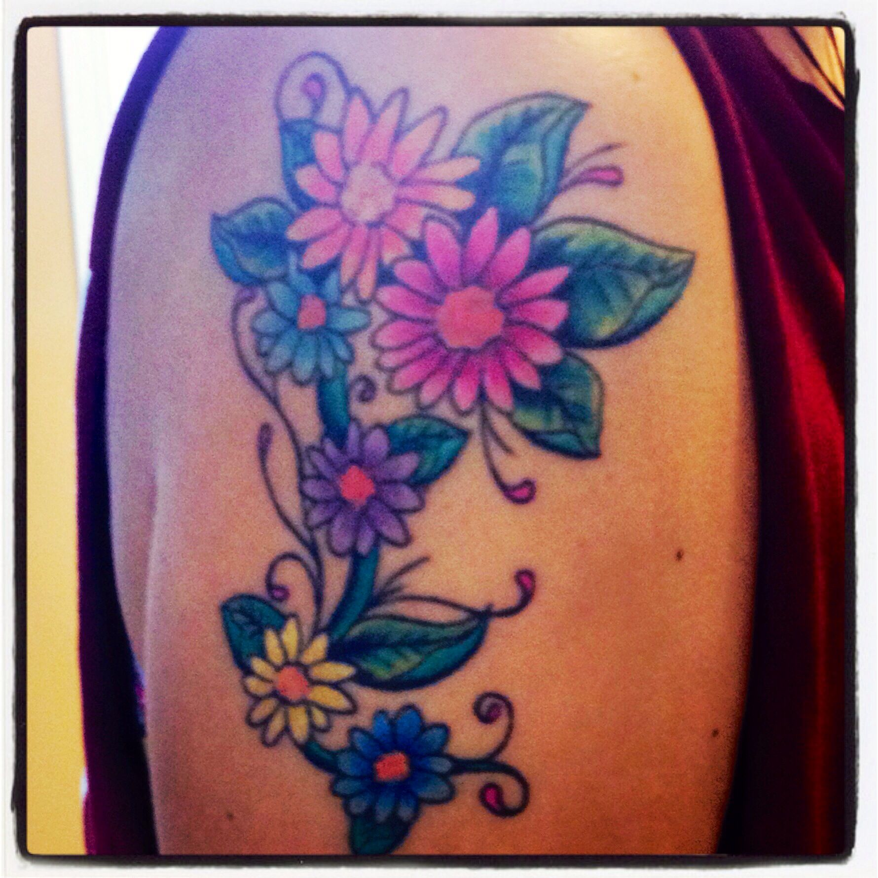 85 Best Daisy Flower Tattoo: Colorful Daisies, Flower Tattoos #ink #color Tattos #daisy