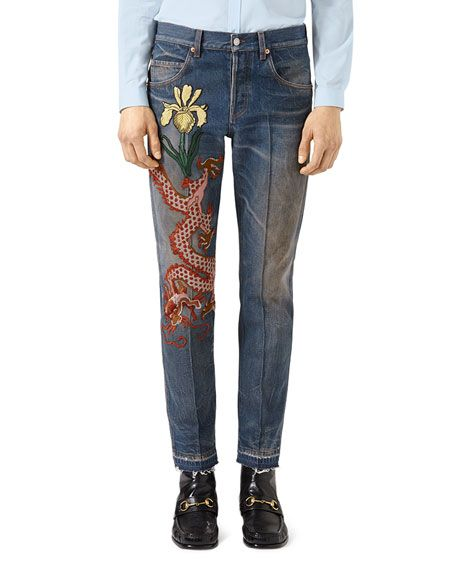 328a731bbc6 GUCCI Tapered Jeans With Dragon Embroidery