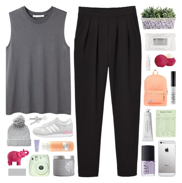 """""""DYLAN"""" by feels-like-snow-in-september ❤ liked on Polyvore featuring Monki, Hope, adidas Originals, red flower, Herschel Supply Co., Eos, Stila, Davines, Byredo and Pieces"""