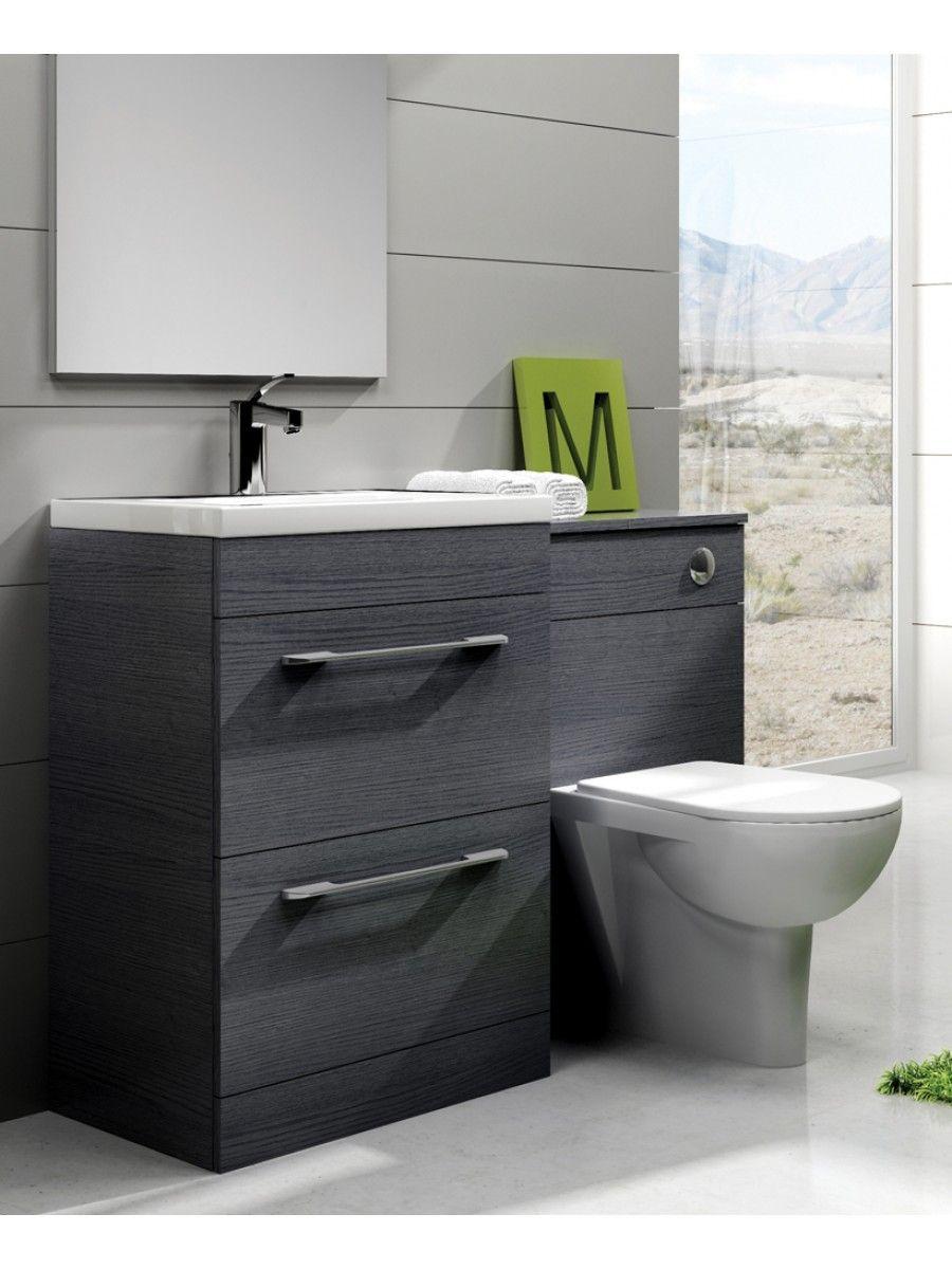 Carla Grey Slimline 60cm Combination Unit 2 Drawer Small Bathroom Furniture Toilet And Sink Unit Bathroom Units