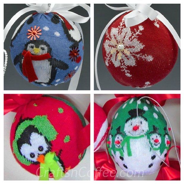 dollar store crafts DIY Christmas sock ornaments Christmas