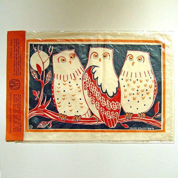 Vintage 1970s M'Sasa Owls Bird Collection Africa by JumbleSailor