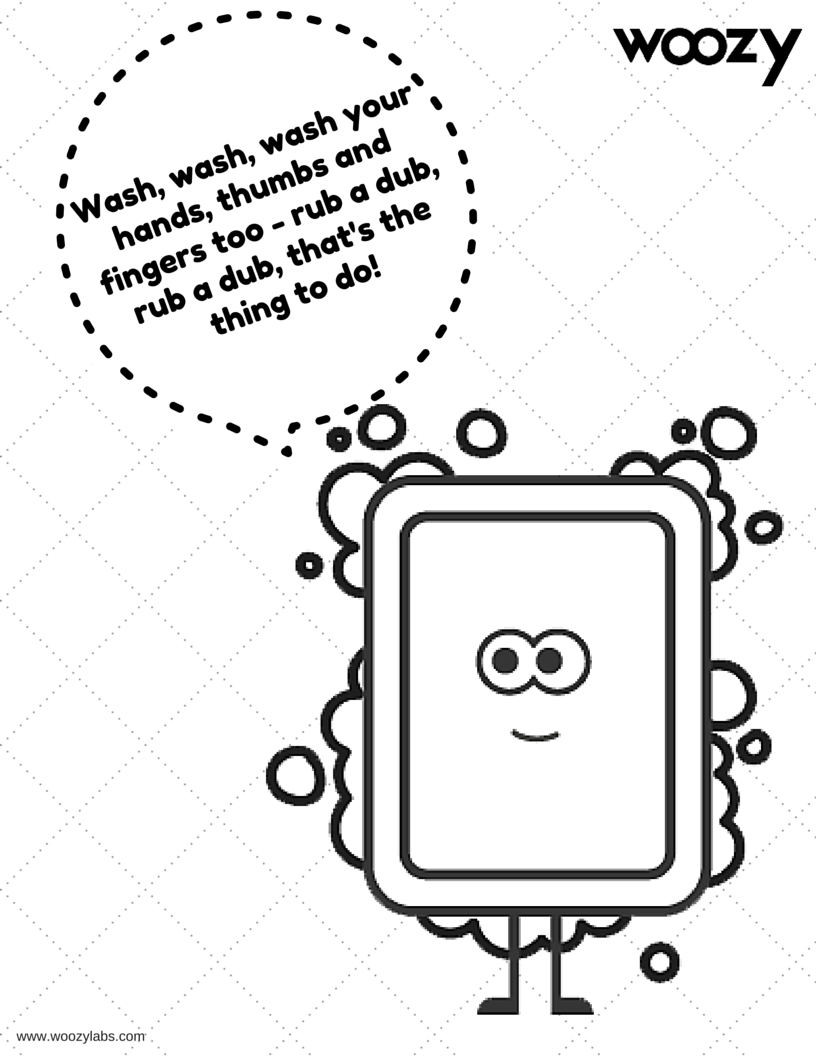 Coloring page with Mr. Soap to help kids learn a song to