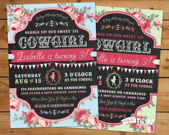 Cowgirl and cowboy invitations