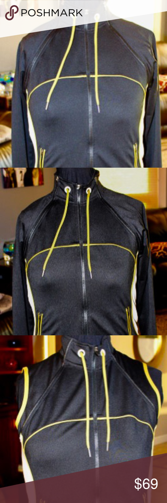 Soma Sport NEW-Never been worn jacket from Soma.  Black with white and yellow accent colors.  The sleeves zip off.  This is a very nice jacket.  Size X-Small. Sporty yet stylish. Soma Sport Jackets & Coats