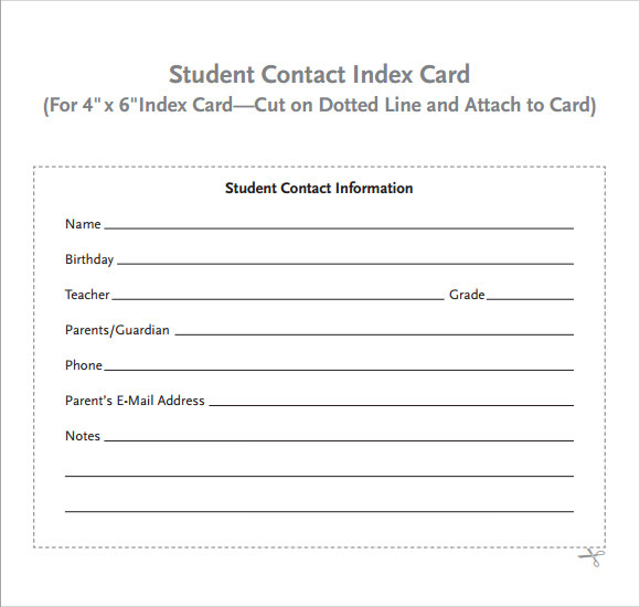 Free 9 Index Card Templates In Pdf Excel For Samples Of Student Information Card Template Note Card Template Recipe Cards Template Card Templates Printable