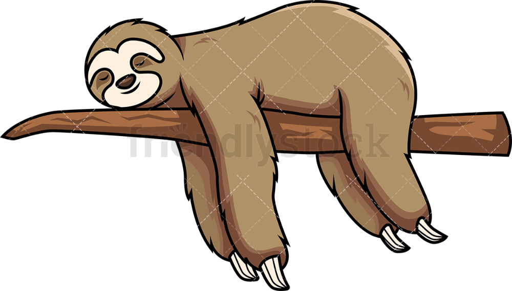 Sloth Sleeping On Tree Branch Cartoon Vector Clipart