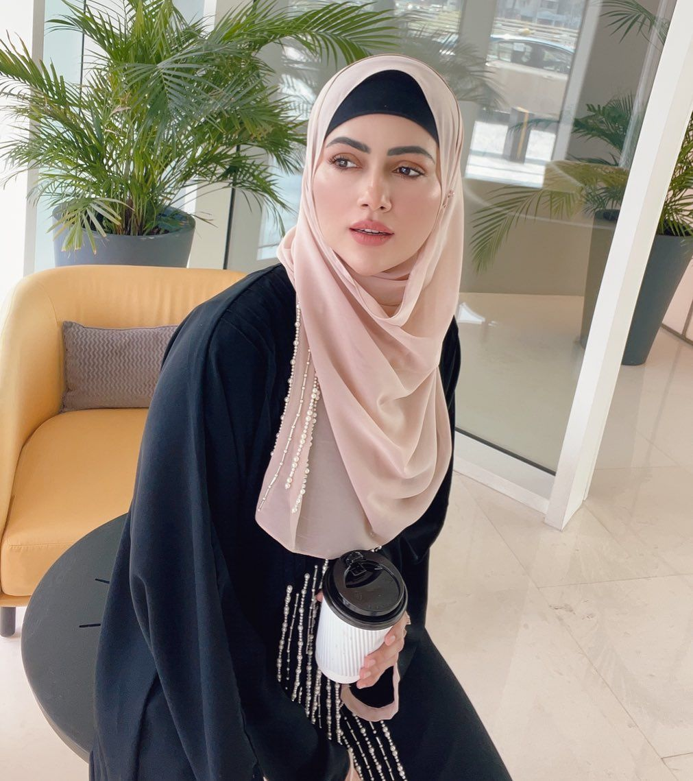 Sana Khan in Abaya and Hijab