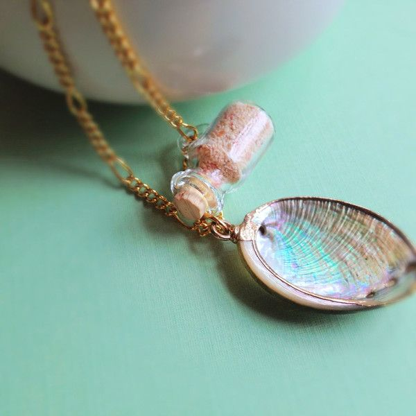 Seashell Necklace With Small Glass Bottle Of Sand. Beach