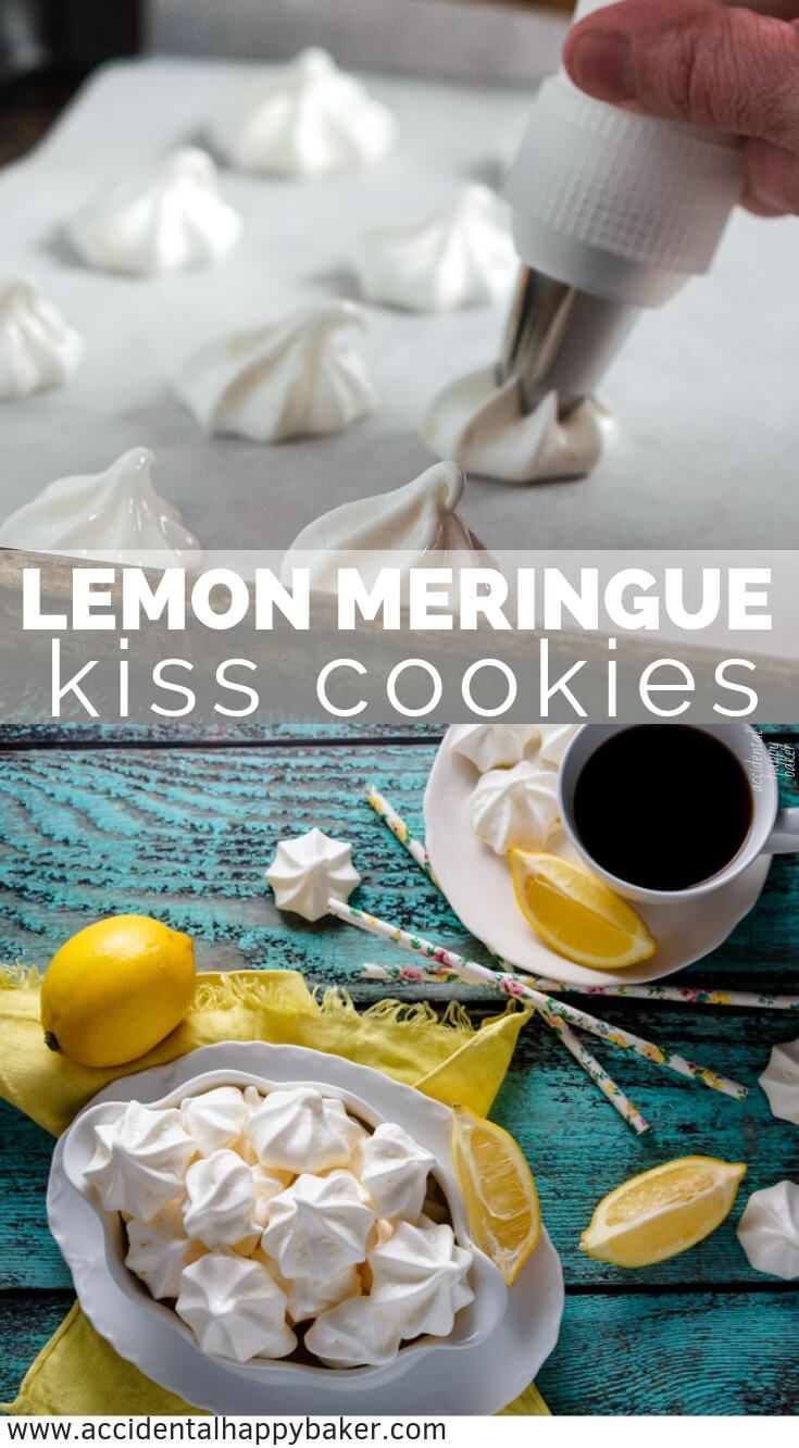 Light as air, melt in your mouth lemon meringue kisses. Naturally gluten free and only 5 calories a piece! #lemonmeringue #lemonmeringuecookies #lemondessert #meringue #accidentalhappybaker