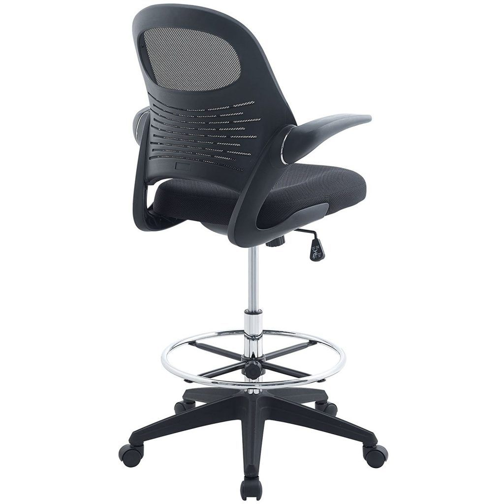Genial Modway Advance Drafting Chair In Black   Reception Desk Chair   Tall Office  Chair For Adjustable Standing Desks   Drafting Table Chair   Flip Up Arms