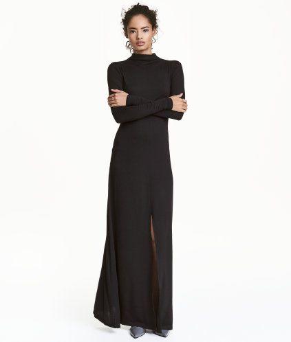 Schwarz Langes Figurnahes Kleid Aus Weichem Jersey Modell Mit