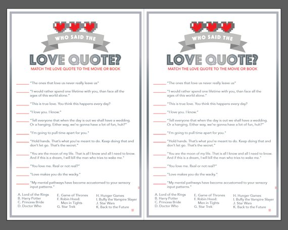 Nerdy Love Quote Bridal Shower Game - DIY Printable ...