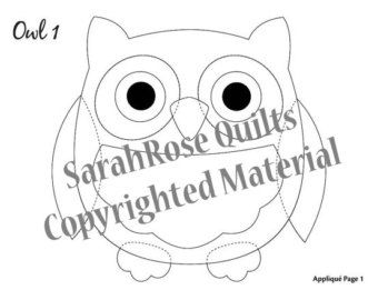 Owl Appliques PDF for Download by SarahRoseQuilts on Etsy