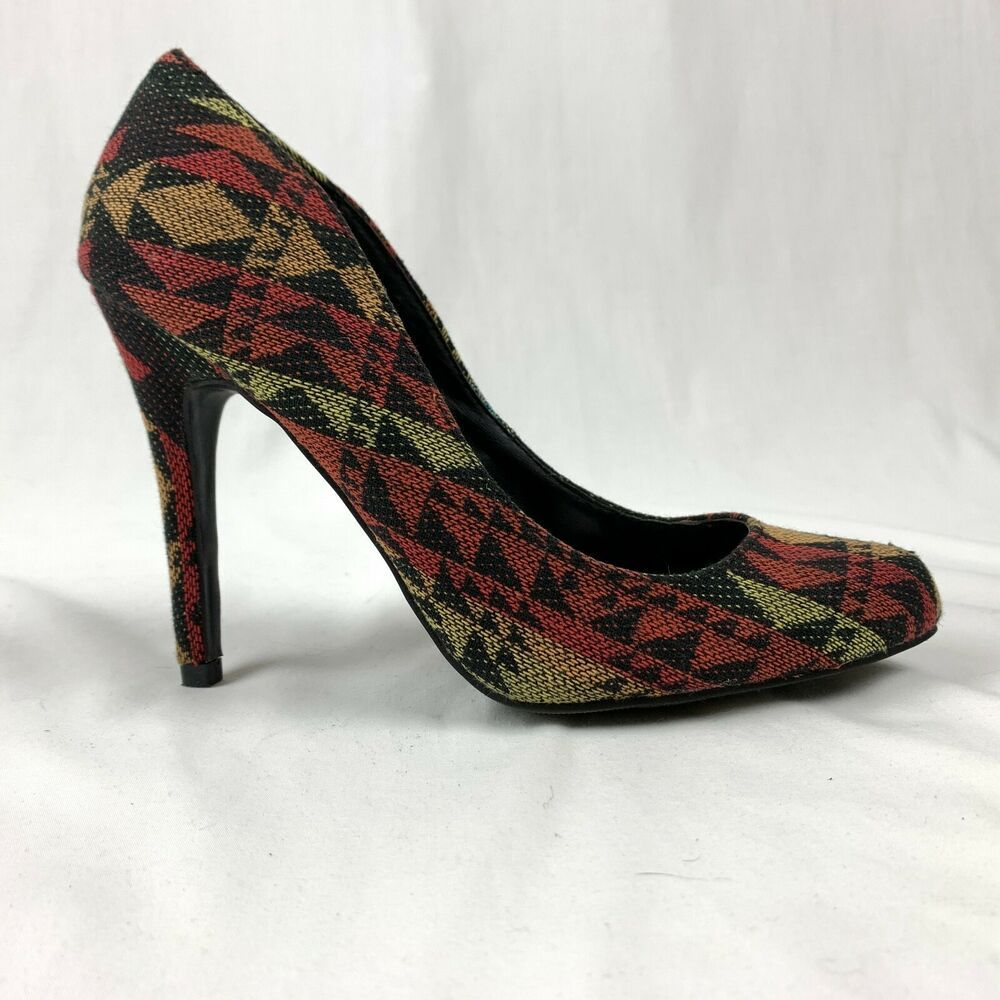 Details about Material Girl Womens 7 Red Southwest Aztec