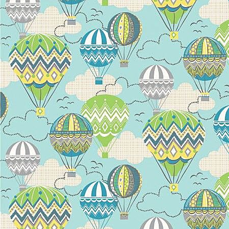 Blown Away Fabric by Josephine Kimberling for Blend Fabrics CHEVRON Zig Zag Blue Green Hot Air Balloons by AllegroFabrics on Etsy https://www.etsy.com/listing/189847745/blown-away-fabric-by-josephine