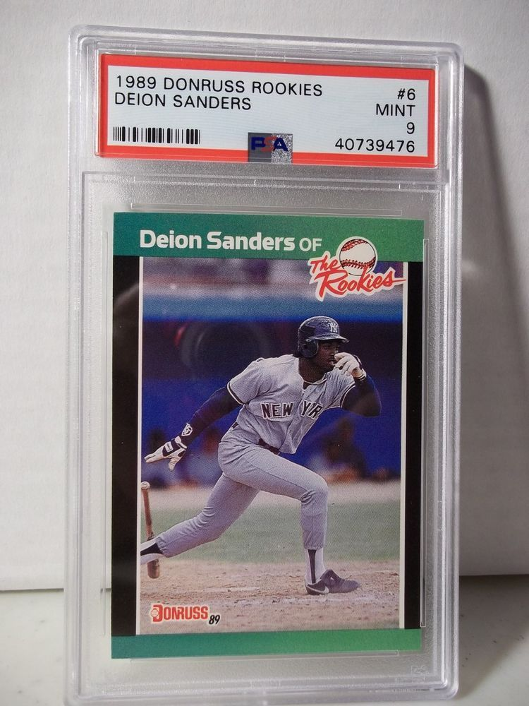 1989 Donruss Rookies Deion Sanders Psa Mint 9 Baseball Card 6 Mlb Newyorkyankees Baseball Cards Baseball High School Baseball