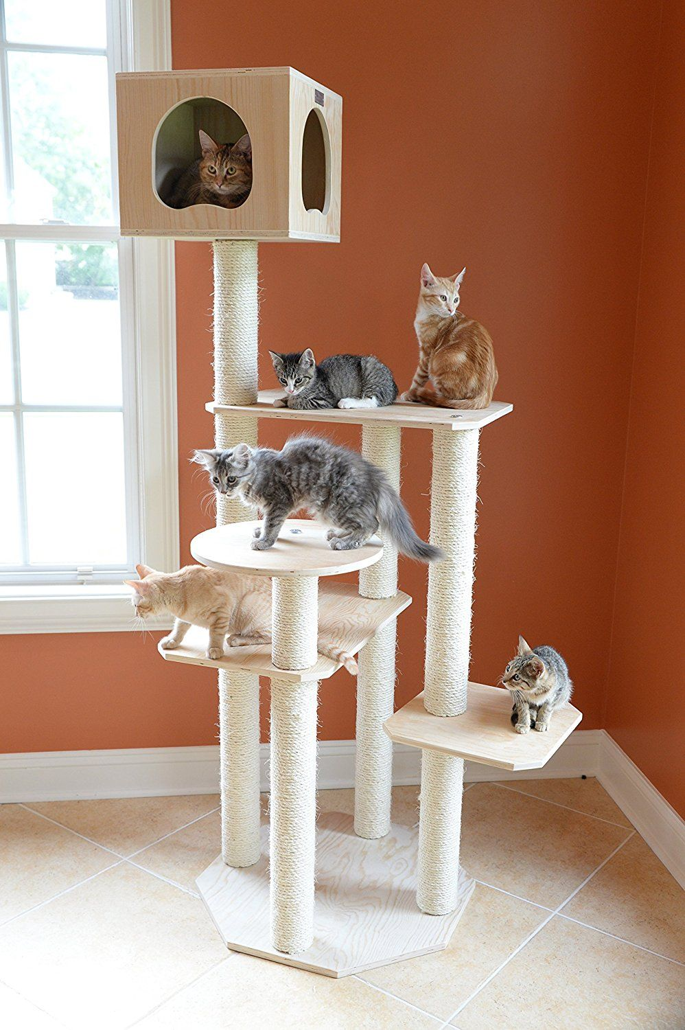 Cool Cat Stuff ♥ Hereu0027s A A Really Cool Cat Tree Without Carpet. Lots Of  Sisal Scratching Posts, Platforms And Cubbies For Snoozing.