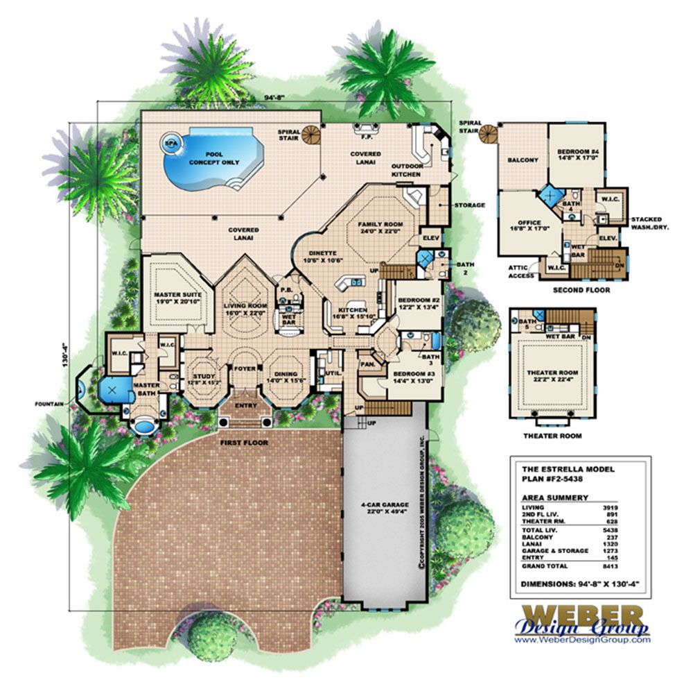 Tuscan house plans with Mediterranean details, small 1,800 square ...