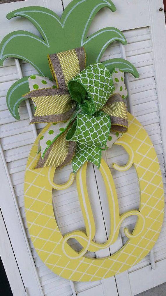 Pineapple Monogram Door Hanger Summer Wreaths Double Door Monograms Pineapple Yellow Green Welcome Decor Door Hanger Monogram Wedding Gift & Pineapple Monogram Door Hanger Summer Wreaths Double Door ... pezcame.com