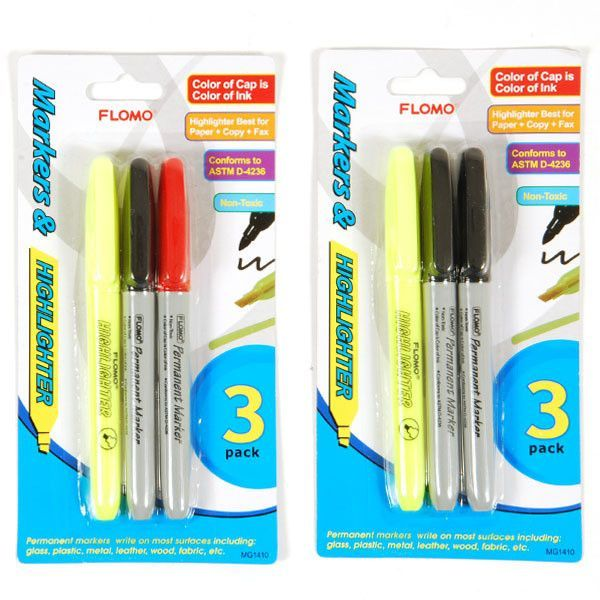 3 pack marker and highlighter multi-pack Case of 48