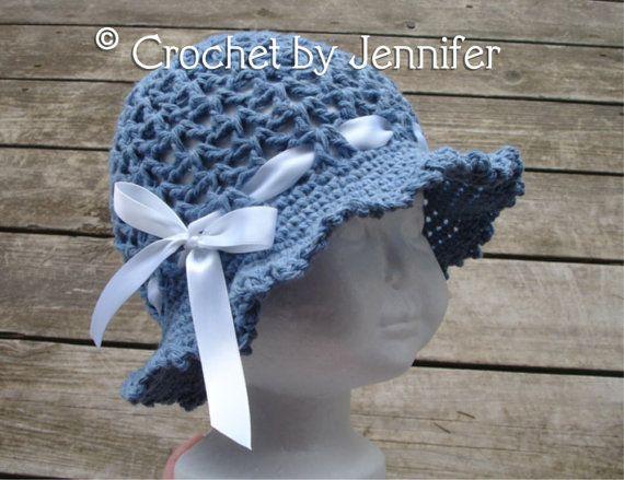 Crochet Pattern For Ava Sun Hat Floppy Brim Hat 7 Sizes Baby To