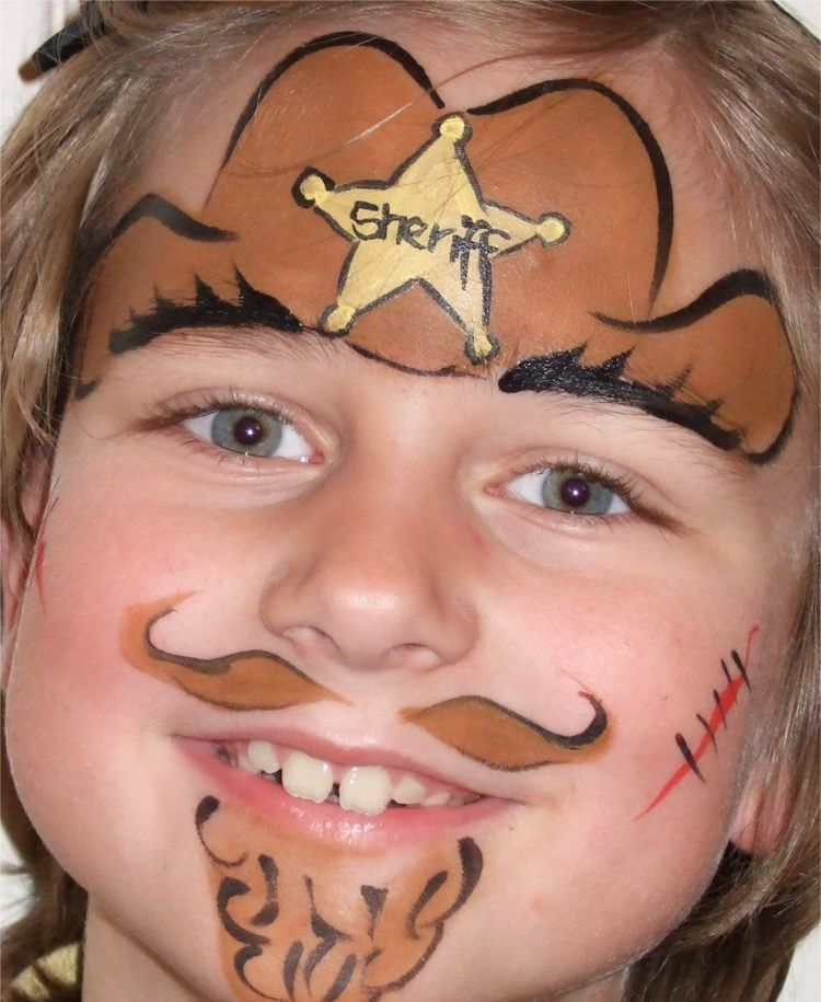 Kinderschminken Fur Jungs Eine Sheriff Idee Kinderschminken Kinder Schminken Bemalte Gesichter