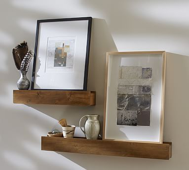 Rustic Wood Ledge Potterybarn Upstairs Walkway With Picture Frames And Cut Out Book Letters