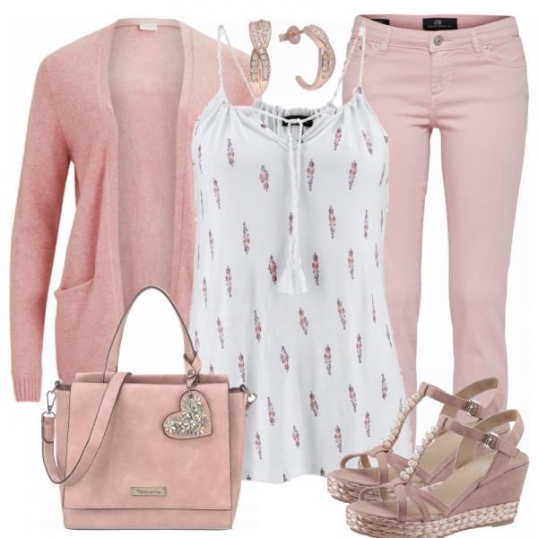 Frühlingslook aus rosa Strickjacke, rosa Wedges und einem weißen Top...