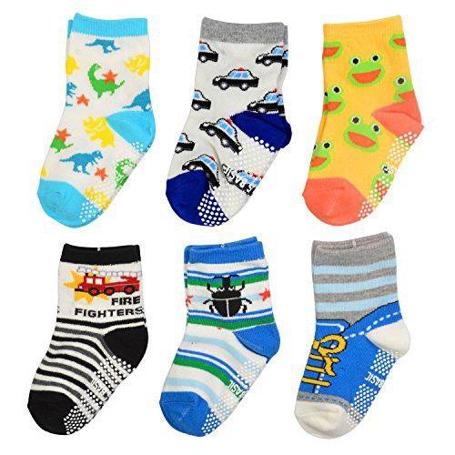 02879d82c TotMart Boys Toddler 6-Pack Non Skid Ankle Socks