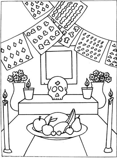 Day Of The Dead Altar Free Coloring Pages Altar De Muertos