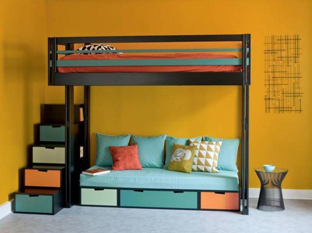 10 solutions pour am nager le dessous d un lit mezzanine lit mezzanine avec banquette lits. Black Bedroom Furniture Sets. Home Design Ideas