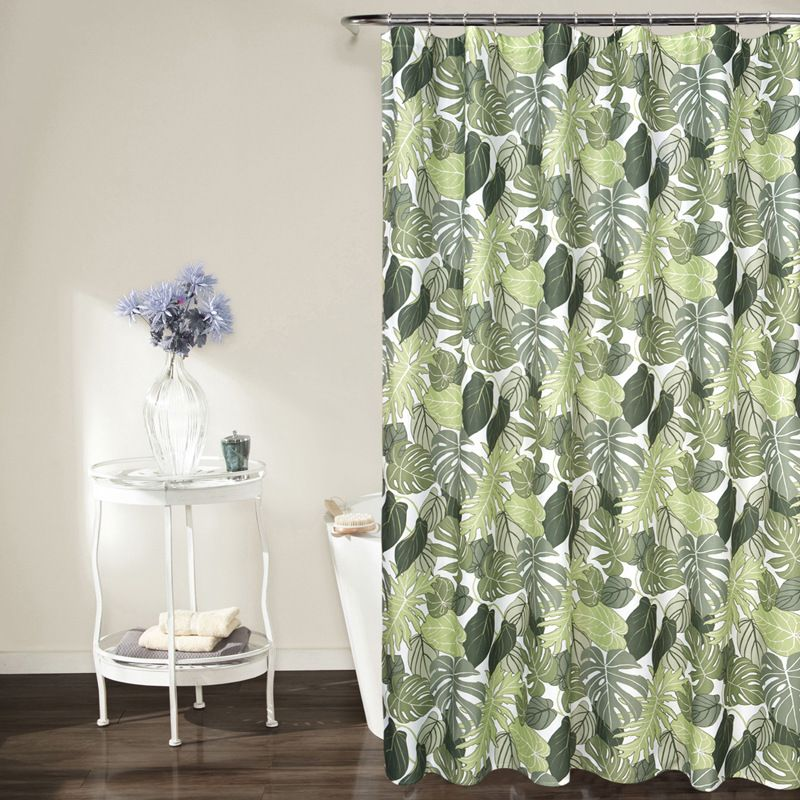 Pastoral Style Green Leaves Printed Waterproof Shower Curtains