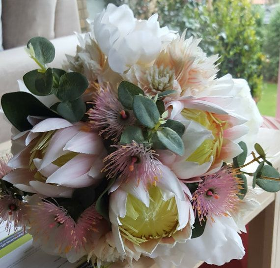 Peony Bouquet Australian Native Flowers Bridal Ivory Peonies Pink Artificial