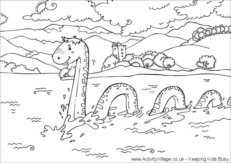 Loch Ness Monster Colouring Page Five In A Row Thinking Day