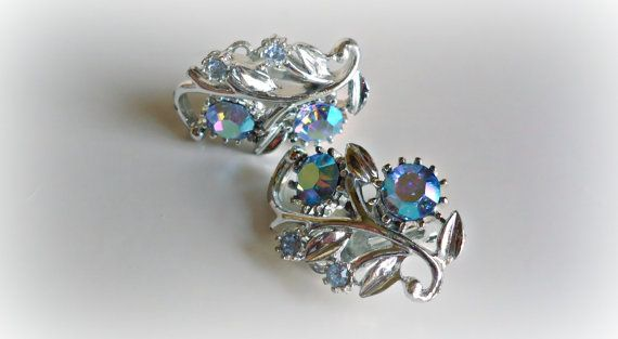 Vintage Earrings Blue Aurora Borealis Rhinestone Earrings Clip On