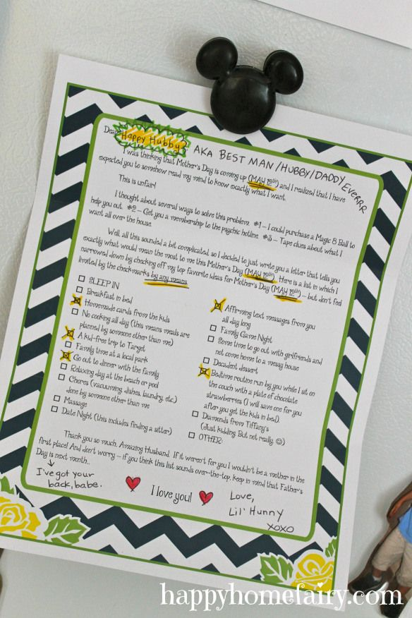 give your husband this letter and have the best mother's day ever!