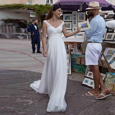 3493e32232 LORIE Wedding Dresses 2019 Princess V Neck A Line Chiffon Pleats Sweep  Train White Bride Dress Beach Wedding Gown Free Shipping