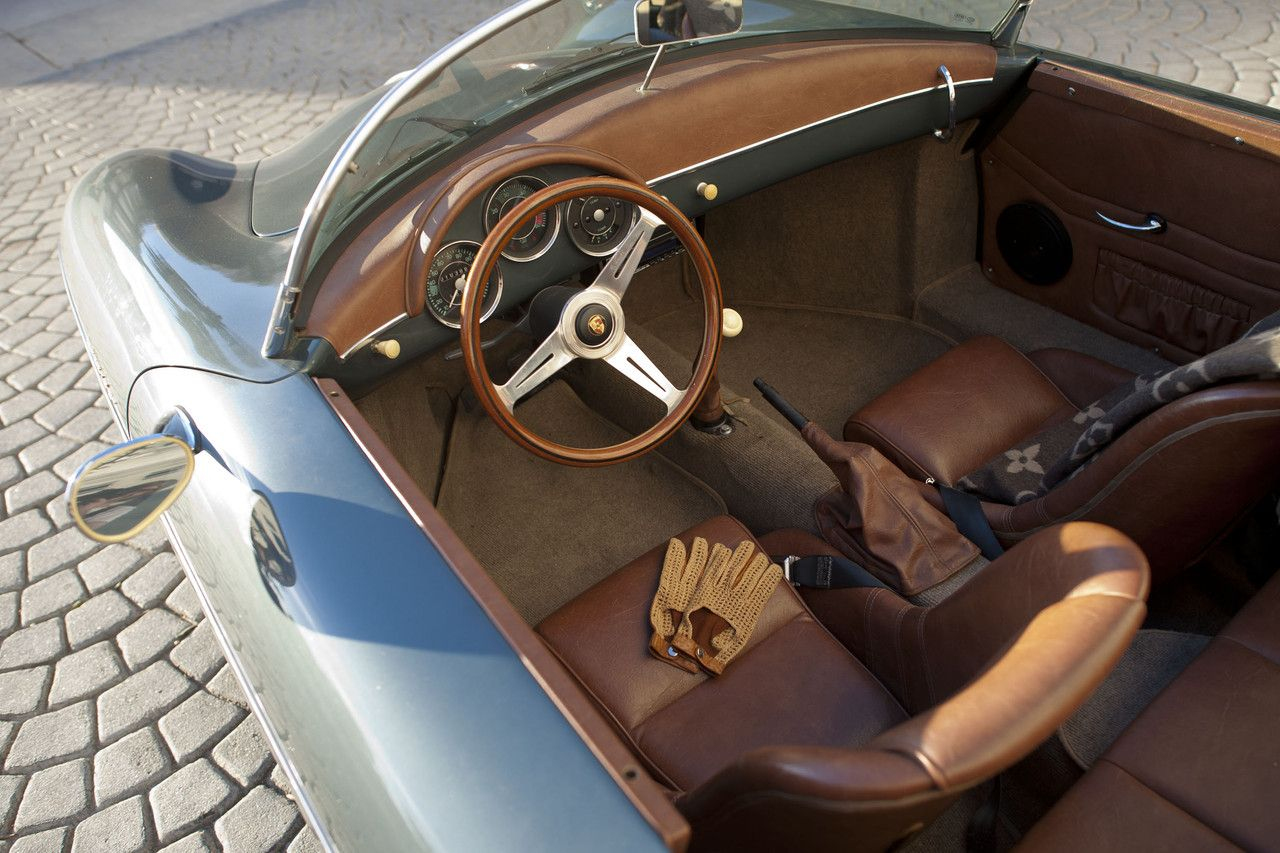 1957 Porsche Speedster Color Combo Of Pewter And Tan Rag Top Interior